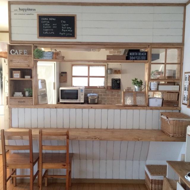 キッチンカウンターをおしゃれに目隠し。お家をカフェ風にしよう。のサムネイル画像