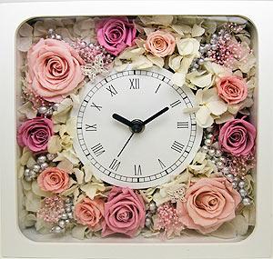 生花のようなプリザーブドフラワーの綺麗な時計をご自宅に♪のサムネイル画像