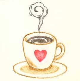 コーヒーを飲むコーヒーカップと遊園地のコーヒーカップのイラストのサムネイル画像