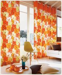 オレンジのカーテンで明るく活発なお部屋に!食欲増進効果も☆のサムネイル画像