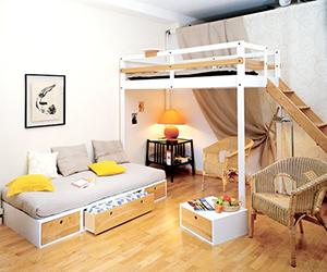 空いたスペースを有効活用できる、セミダブルのロフトベッドの紹介のサムネイル画像